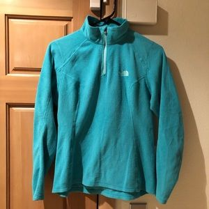 The North Face turquoise 1/4 zip fleece